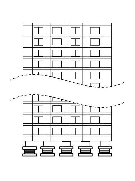 免震ゴム設置建物のイメージ