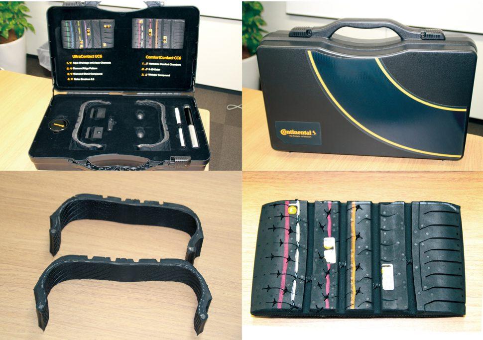 商品説明で実際に使用するトレーニングキット。中にはタイヤのカットサンプル、ノイズブレーカーの仕組みが分かるツール、コンパウンド、タイヤパターンなどが内蔵されている。